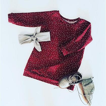 Kindermusthaves - Bordeaux rode sweater dress!