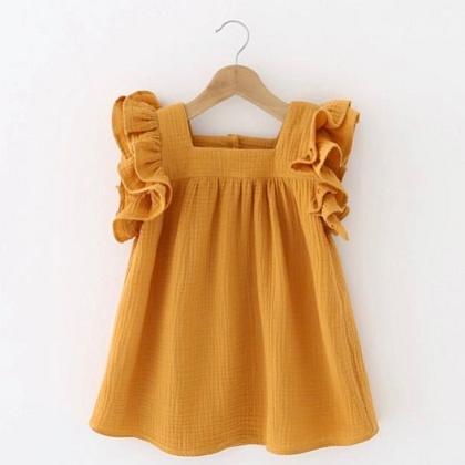 Kindermusthaves - Okergeel jurkje met fringes